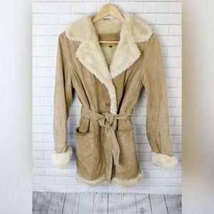 LAWLESS Tan Genuine Leather Fur Penny Lane Jacket